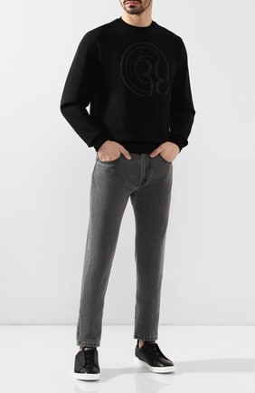 Мужские кожаные кеды с эластичными вставками ZEGNA COUTURE черного цвета, арт. A2634X-PTA | Фото 2