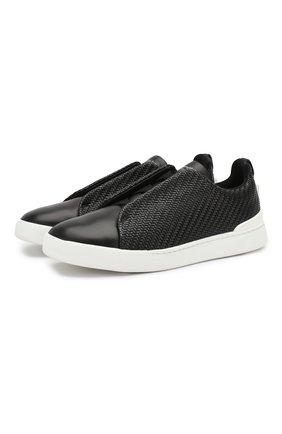 Кожаные кеды без шнуровки Zegna Couture черные | Фото №1