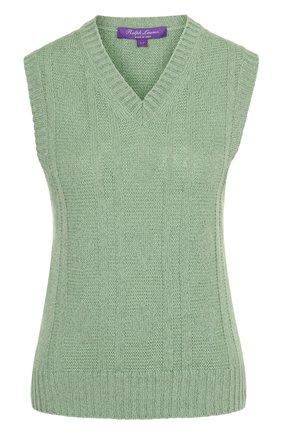 Женский жилет из смеси льна и кашемира с v-образным вырезом RALPH LAUREN зеленого цвета, арт. 290698920 | Фото 1