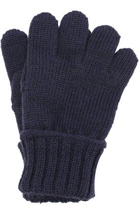 Детские шерстяные перчатки DOLCE & GABBANA темно-синего цвета, арт. 0131/LB5A94/LK5S8 | Фото 1 (Материал: Шерсть; Статус проверки: Проверена категория, Проверено)