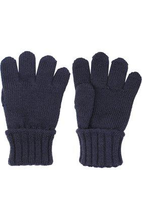 Детские шерстяные перчатки DOLCE & GABBANA темно-синего цвета, арт. 0131/LB5A94/LK5S8 | Фото 2 (Материал: Шерсть; Статус проверки: Проверена категория, Проверено)