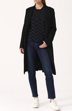 Женские однотонные джинсы прямого кроя LORO PIANA синего цвета, арт. FAF4049 | Фото 2