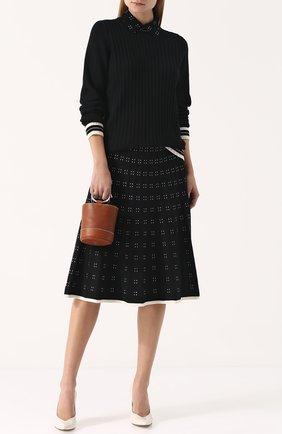Шерстяной пуловер фактурной вязки с отложным воротником Tory Burch черный | Фото №1