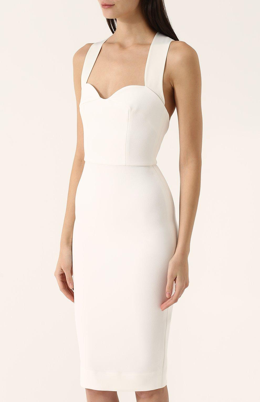 e74326175ff Женское белое платье-футляр с широкими лямками VICTORIA BECKHAM ...