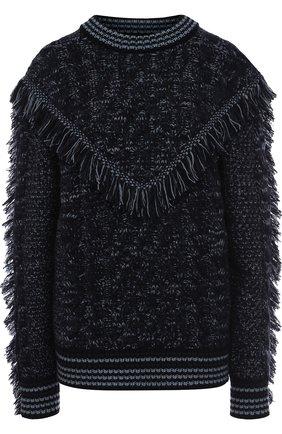 Кашемировый пуловер с круглым вырезом и бахромой Alanui синий   Фото №1