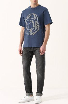 Хлопковая футболка с принтом Billionaire Boys Club темно-синяя | Фото №1