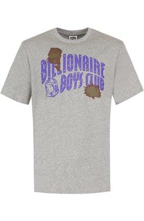 Хлопковая футболка с принтом Billionaire Boys Club серая | Фото №1