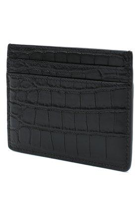 Мужской кожаный футляр для кредитных карт с тиснением SAINT LAURENT черного цвета, арт. 375946/DZE0E | Фото 2