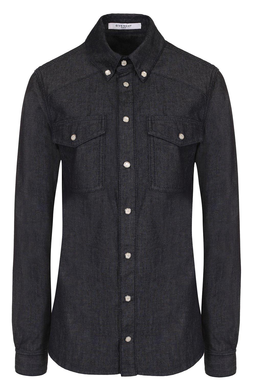 54e1ee0e6df Женская синяя приталенная джинсовая блуза с логотипом бренда ...