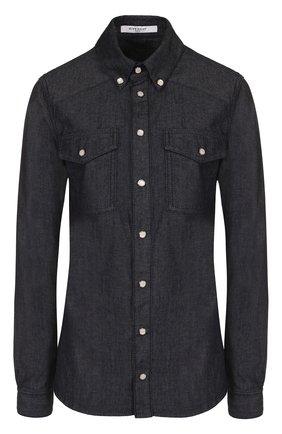 Приталенная джинсовая блуза с логотипом бренда | Фото №1