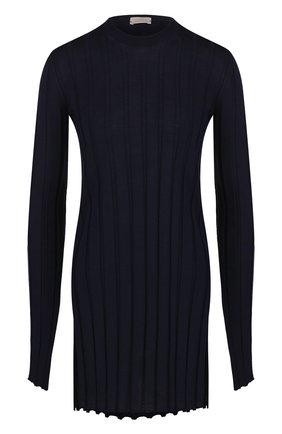 Удлиненный шерстяной пуловер фактурной вязки MRZ темно-синий | Фото №1