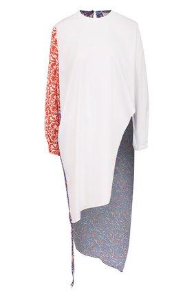 Удлиненная блуза с принтованными спинкой и рукавом | Фото №1