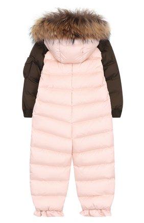 Детский пуховый комбинезон с меховой отделкой на капюшоне MONCLER ENFANT светло-розового цвета, арт. C2-951-19313-25-53227 | Фото 2