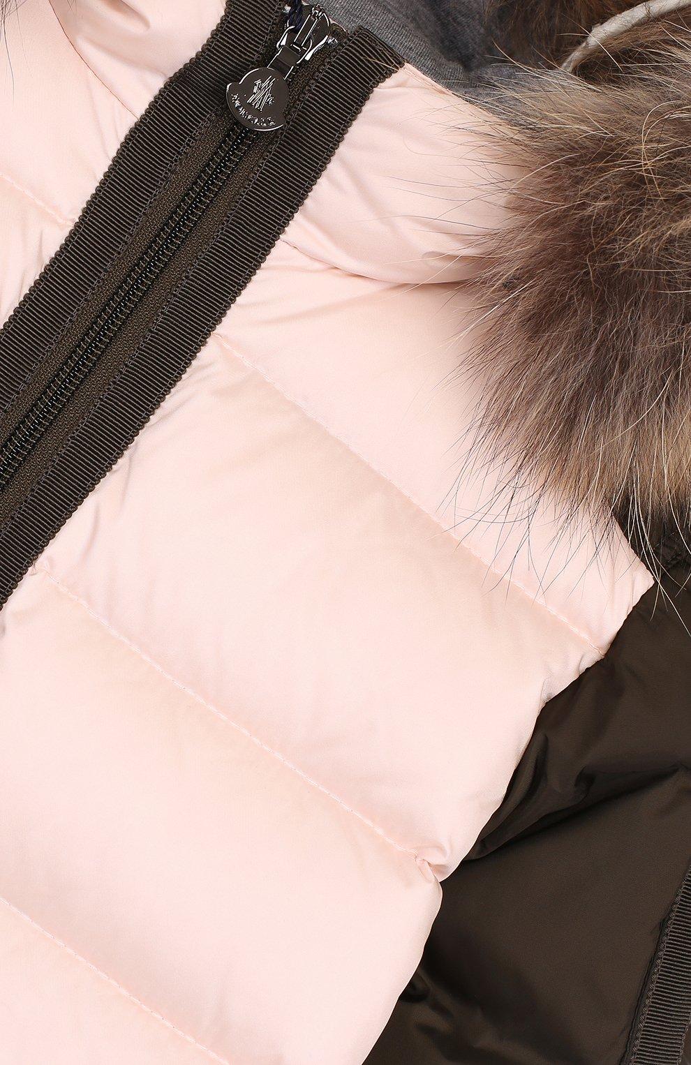 Детский пуховый комбинезон с меховой отделкой на капюшоне MONCLER ENFANT светло-розового цвета, арт. C2-951-19313-25-53227 | Фото 3