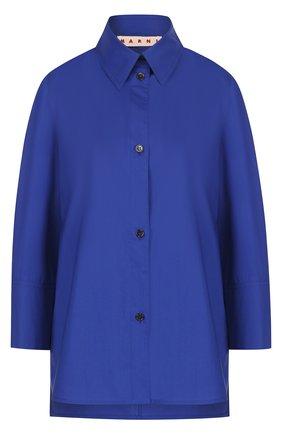 Однотонная хлопковая блуза с укороченным рукавом | Фото №1