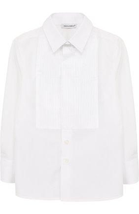 Детская хлопковая рубашка прямого кроя DOLCE & GABBANA белого цвета, арт. L41S70/FU5GK/2-6 | Фото 1