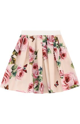Хлопковая юбка свободного кроя с принтом и эластичным поясом   Фото №1