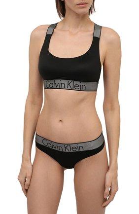 Женские стринги с широким поясом и логотипом бренда CALVIN KLEIN черного цвета, арт. QF4054E | Фото 2