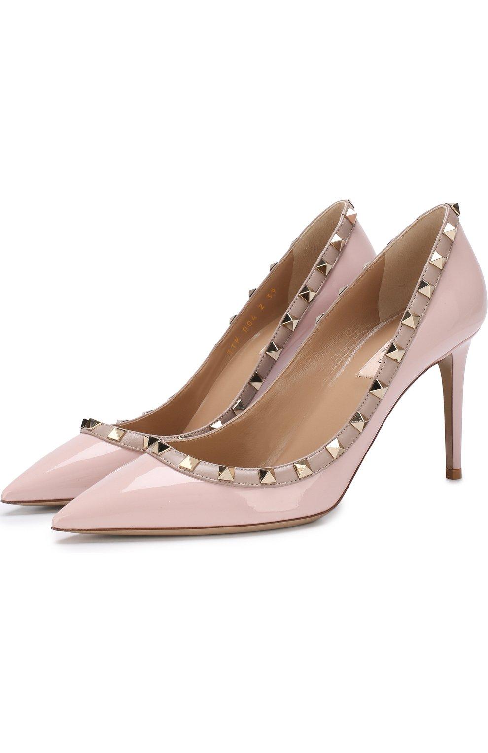 8385f0f90e29 Фото Женские светло-розовые лаковые туфли valentino garavani rockstud на  шпильке VALENTINO Италия 5224183 PW2S0A04