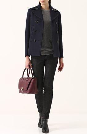 Женские джинсы прямого кроя с контрастной прострочкой VALENTINO темно-синего цвета, арт. PB3DD03L/2HN | Фото 2