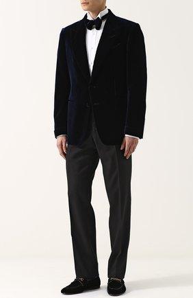 Мужской шерстяные брюки прямого кроя TOM FORD черного цвета, арт. 222R97/610043 | Фото 2