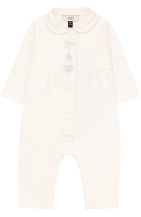 Детский хлопковая пижама с вышивкой ARMANI JUNIOR белого цвета, арт. 6YED04/3JDMZ | Фото 1