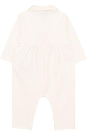 Детский хлопковая пижама с вышивкой ARMANI JUNIOR белого цвета, арт. 6YED04/3JDMZ | Фото 2