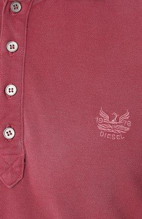 Хлопковое поло с короткими рукавами Diesel розовое | Фото №5