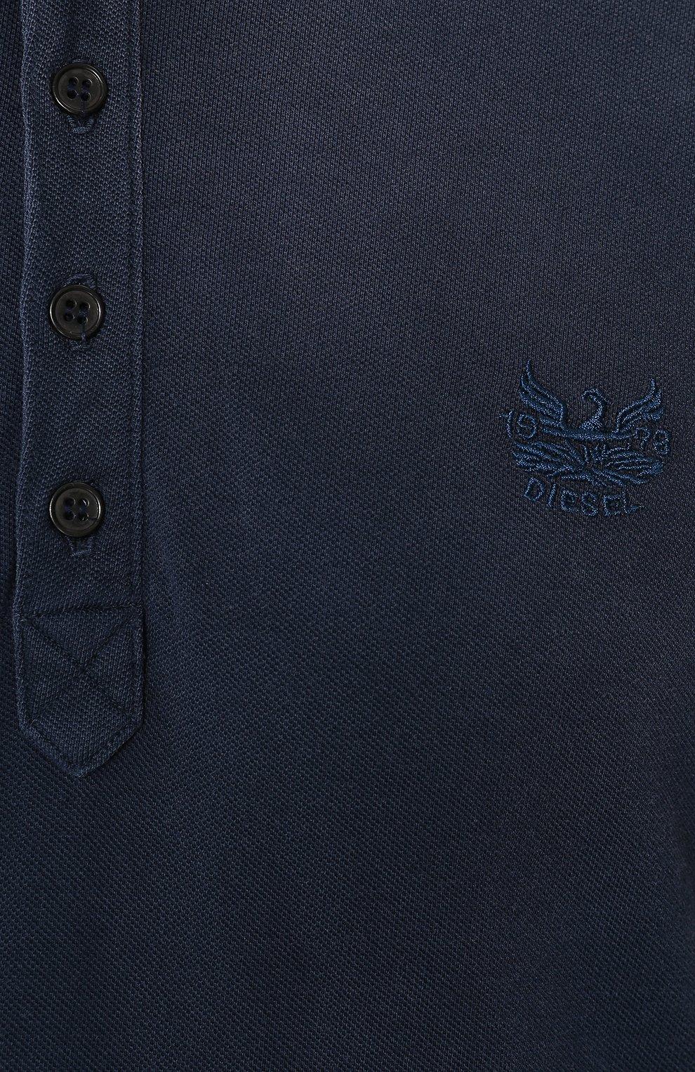 Хлопковое поло с короткими рукавами Diesel синее | Фото №5