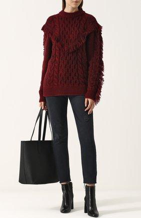Кашемировый пуловер фактурной вязки с бахромой Alanui бордовый   Фото №1