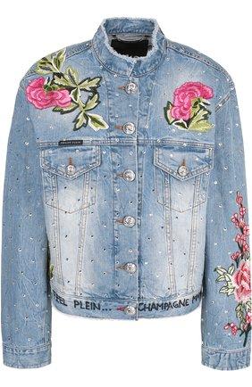 Джинсовая куртка с потертостями и вышивкой | Фото №1