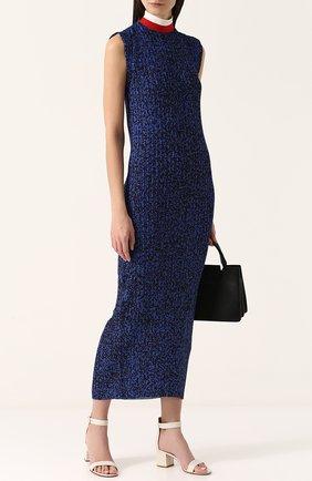 Плиссированное платье-миди с воротником-стойкой Solace синее | Фото №1