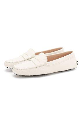 Женские кожаные мокасины gommini TOD'S белого цвета, арт. XXW00G000105J1B015 | Фото 1