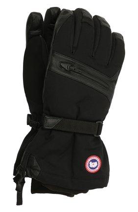 Мужские утепленные перчатки с манжетами CANADA GOOSE черного цвета, арт. 5154M | Фото 1