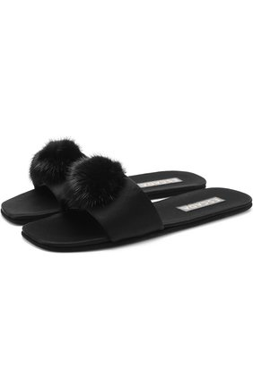 Атласные домашние туфли с отделкой из меха норки | Фото №1