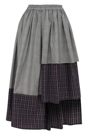 Юбка асимметричного кроя из смеси хлопка и шерсти Victoria/Tomas серая   Фото №1