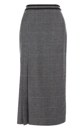 Шерстяная юбка-миди в клетку | Фото №1