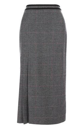 Шерстяная юбка-миди в клетку Erdem серая | Фото №1