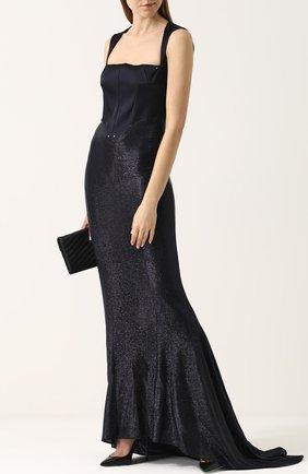 Приталенное платье-макси с подолом Esteban Cortazar синее   Фото №1
