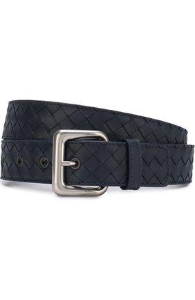 Мужской кожаный ремень с металлической пряжкой BOTTEGA VENETA темно-синего цвета, арт. 271932/V465V | Фото 1