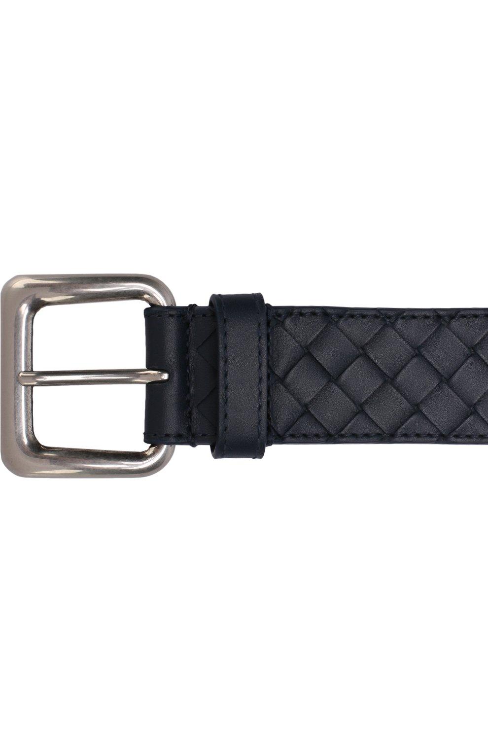 Мужской кожаный ремень с металлической пряжкой BOTTEGA VENETA темно-синего цвета, арт. 271932/V465V | Фото 3