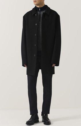 Однобортное шерстяное пальто прямого кроя Mackintosh черного цвета | Фото №1