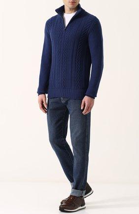 Кашемировый свитер фактурной вязки с воротником на молнии | Фото №2