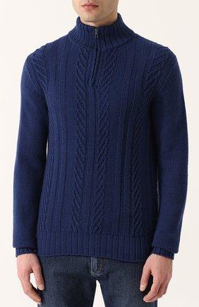 Кашемировый свитер фактурной вязки с воротником на молнии | Фото №3