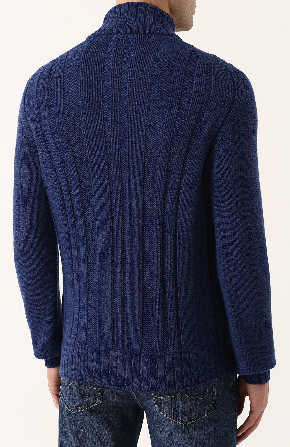 Кашемировый свитер фактурной вязки с воротником на молнии | Фото №4