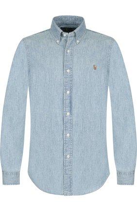 Мужская джинсовая рубашка с воротником button down POLO RALPH LAUREN голубого цвета, арт. 710548538 | Фото 1