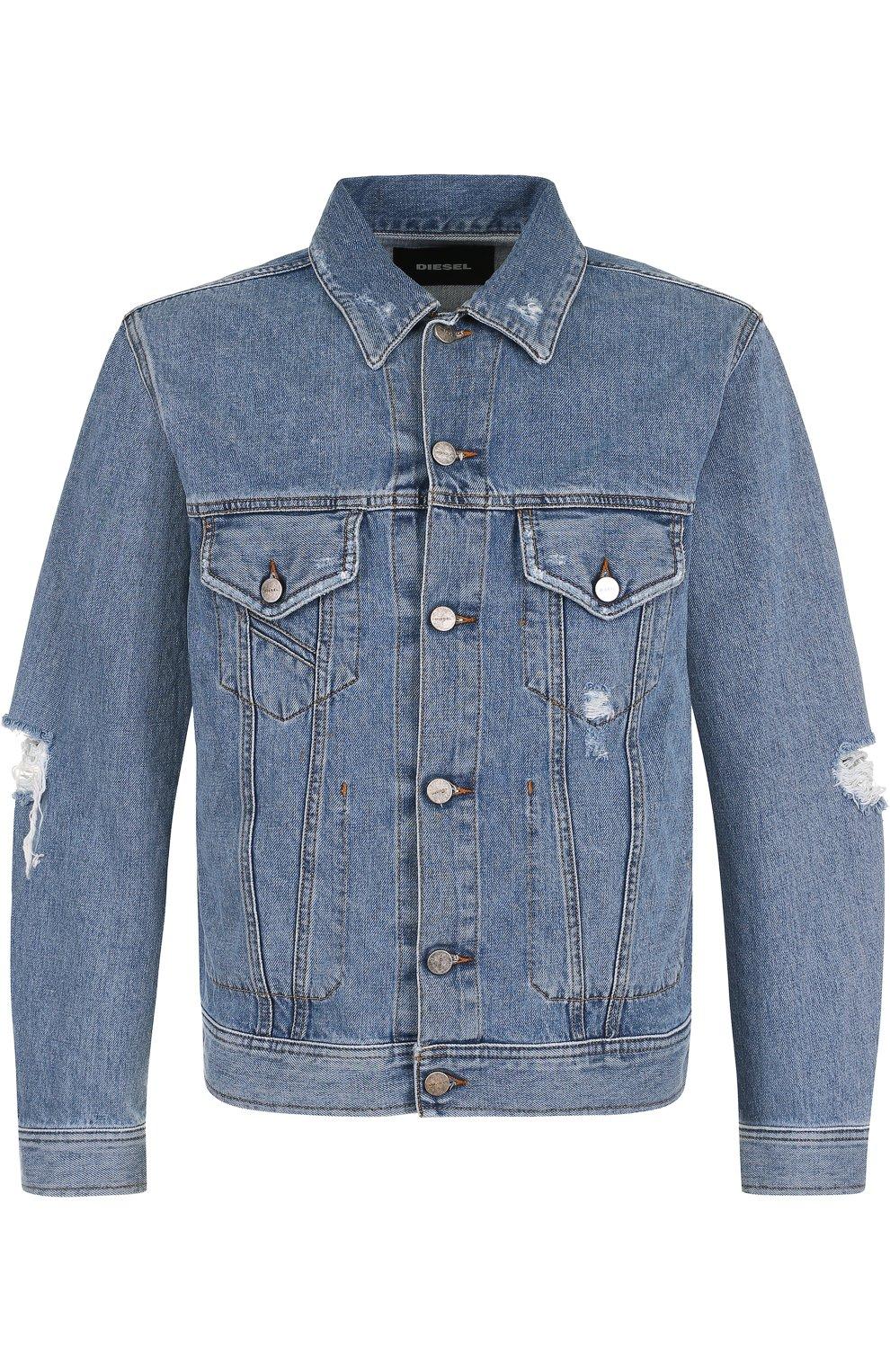 Джинсовая куртка на пуговицах с потертостями | Фото №1