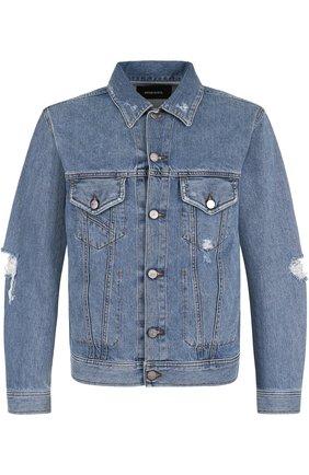 Джинсовая куртка на пуговицах с потертостями Diesel синяя | Фото №1