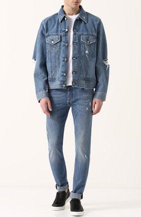 Джинсовая куртка на пуговицах с потертостями Diesel синяя | Фото №2