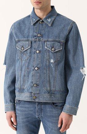 Джинсовая куртка на пуговицах с потертостями Diesel синяя | Фото №3
